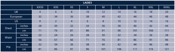 Shires Ladies Size Chart