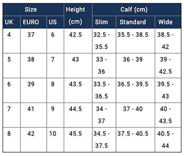 Moretta Pamina Country Boots - Ladies - arabella size chart 1