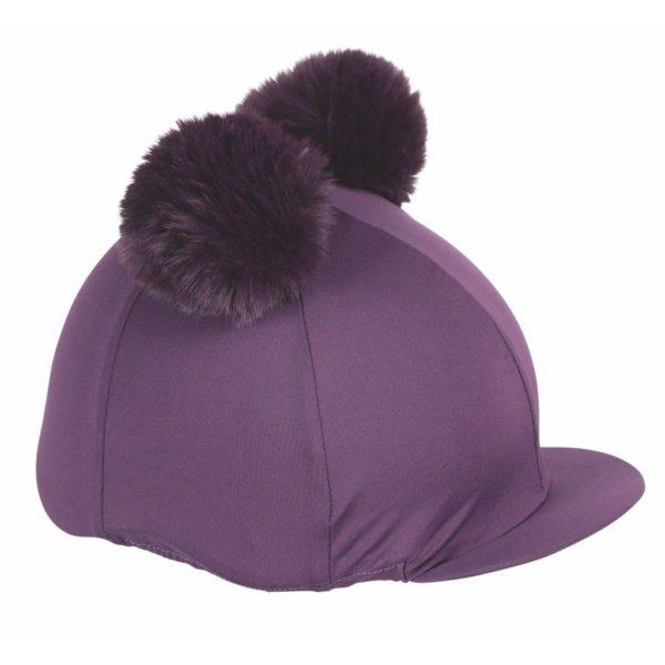 Double Pom Pom Hat Cover Plum
