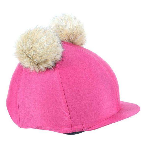 Double Pom Pom Hat Cover Raspberry