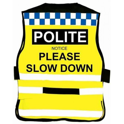 Equisafety Polite Waistcoat - Please Slow Down