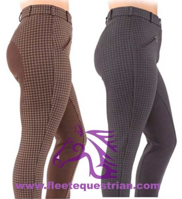 Bridleway Ladies Premium Check Jodhpurs - FREE P&P