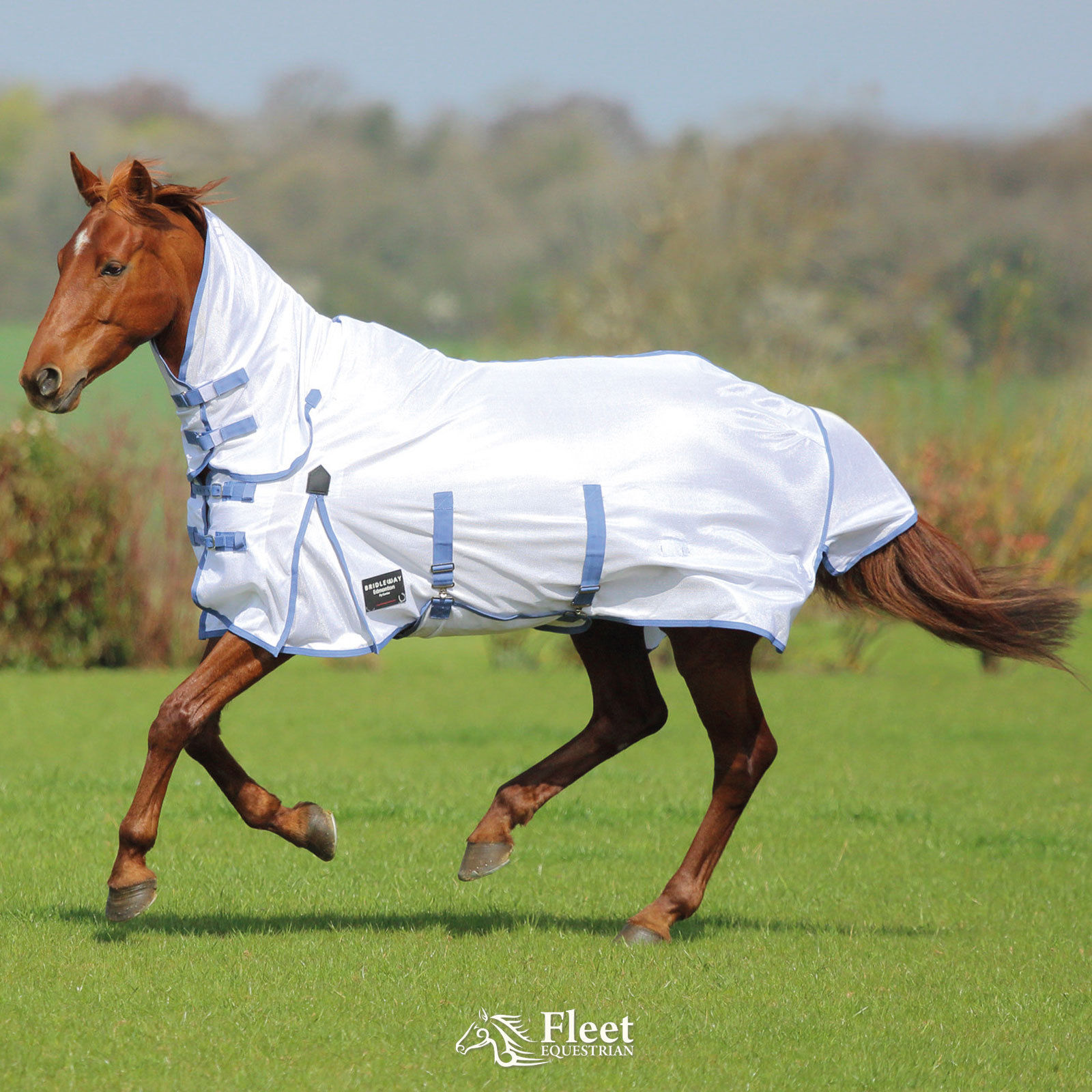 Bridleway Fly Sheet  Horse Rug White//Navy